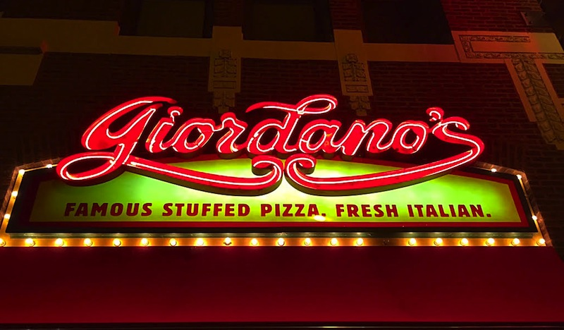 Eating good at Giordano's in Chicago, IL